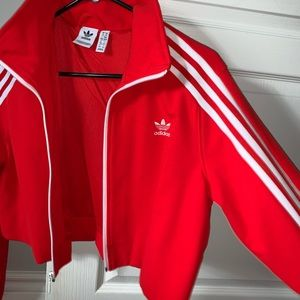 Red Adidas Cropped Jacket